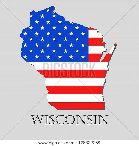 Map of the State of Wisconsin and American flag illustration. America Flag map - vector illustration.