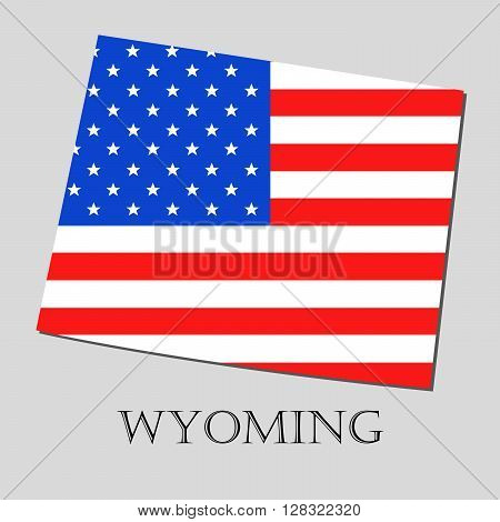 Map of the State of Wyoming and American flag illustration. America Flag map - vector illustration.