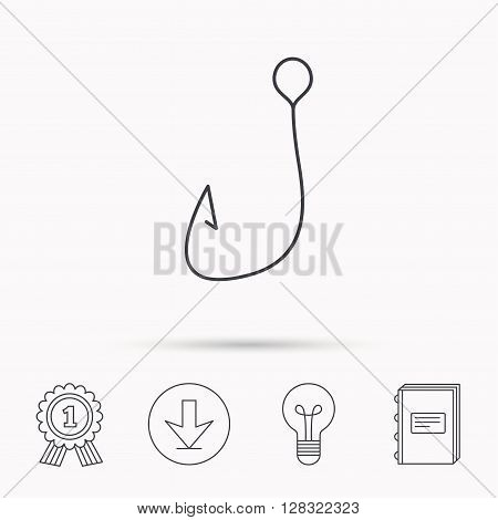Fishing hook icon. Fisherman equipment sign. Angling symbol. Download arrow, lamp, learn book and award medal icons.
