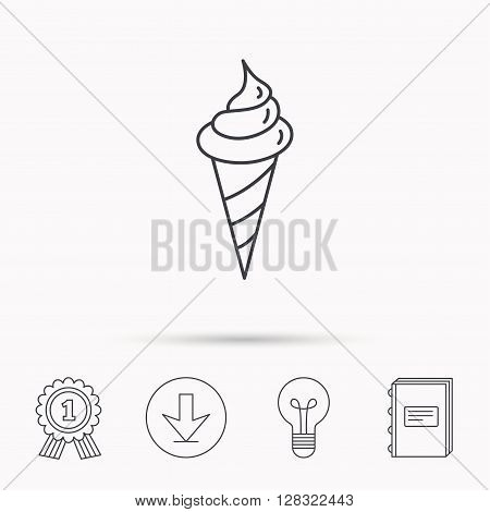 Ice cream icon. Sweet dessert in waffle cone sign. Frozen food symbol. Download arrow, lamp, learn book and award medal icons.