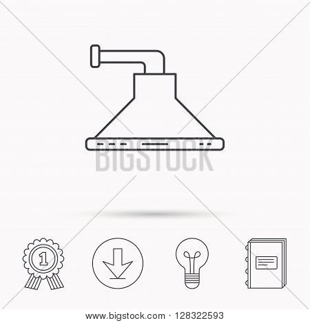Kitchen hood icon. Kitchenware equipment sign. Download arrow, lamp, learn book and award medal icons.