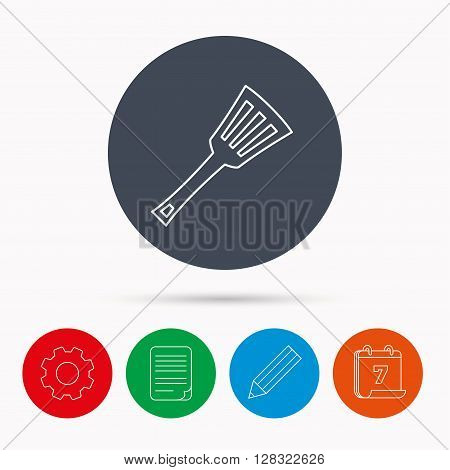 Kitchen utensil icon. Kitchenware spatula sign. Cooking tool symbol. Calendar, cogwheel, document file and pencil icons.