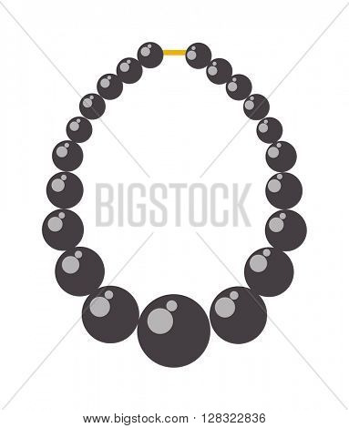 Black pearl necklace bead vector illustration.