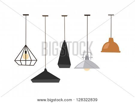 Lamps isolated vector illustration.