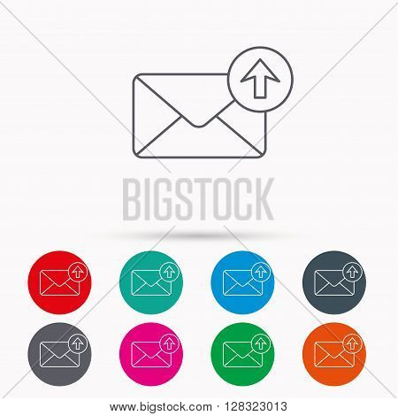 Mail outbox icon. Email message sign. Upload arrow symbol. Linear icons in circles on white background.