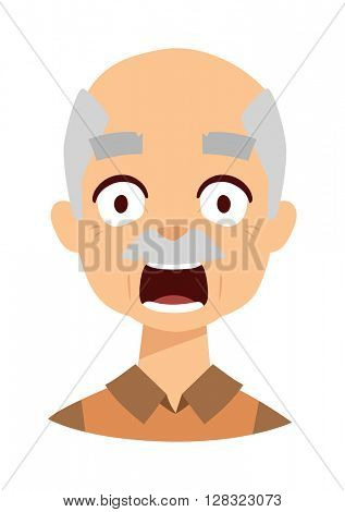 Old man scared vector illustration.