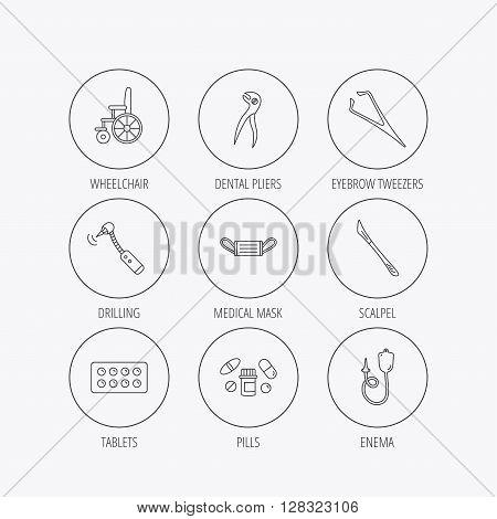 Medical mask, pills and dental pliers icons. Tablets, drilling tool and wheelchair linear signs. Enema, scalpel and tweezers flat line icons. Linear colored in circle edge icons.