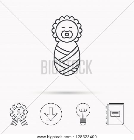 Newborn baby icon. Toddler sign. Child wrapped in blanket symbol. Download arrow, lamp, learn book and award medal icons.