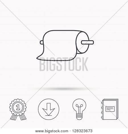 Paper towels icon. Kitchen hygiene sign. Download arrow, lamp, learn book and award medal icons.