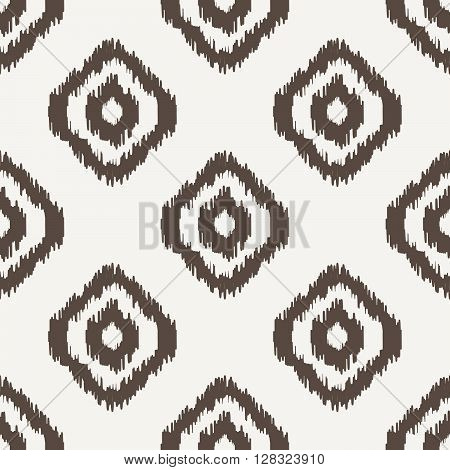 Ikat geometric seamless pattern. White and brown color collection. Indonesian textile fabric tie-dye technique inspiration. Rhombus and drop shapes.
