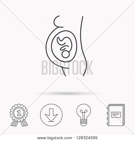 Pregnancy icon. Medical genecology sign. Obstetrics symbol. Download arrow, lamp, learn book and award medal icons.