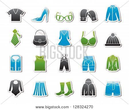 Fashion and clothing and accessories icons - vector icon set