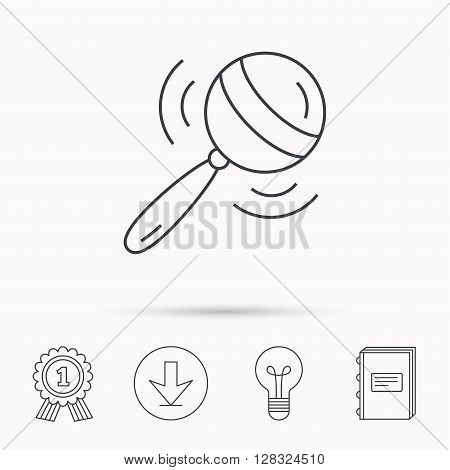 Baby rattle icon. Toddler toy sign. Child fun ball symbol. Download arrow, lamp, learn book and award medal icons.