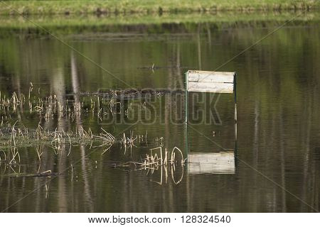 A nest box for waterfowl in a pond.