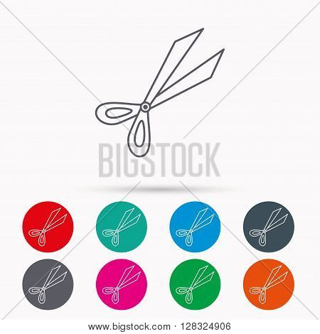 Gardening scissors icon. Secateurs tool sign symbol. Linear icons in circles on white background.