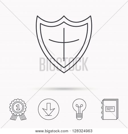 Shield icon. Protection sign. Royal defence symbol. Download arrow, lamp, learn book and award medal icons.