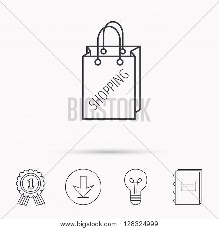 Shopping bag icon. Sale handbag sign. Download arrow, lamp, learn book and award medal icons.