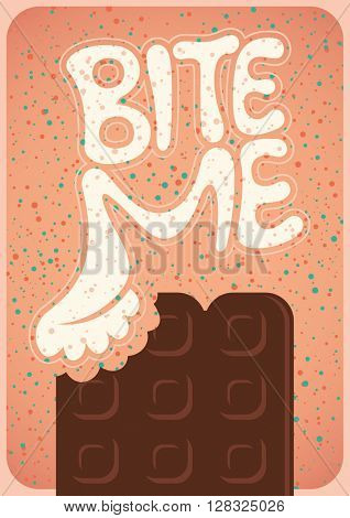 Poster with chocolate. Vector illustration.