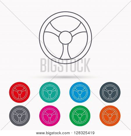 Steering wheel icon. Car drive control sign. Linear icons in circles on white background.