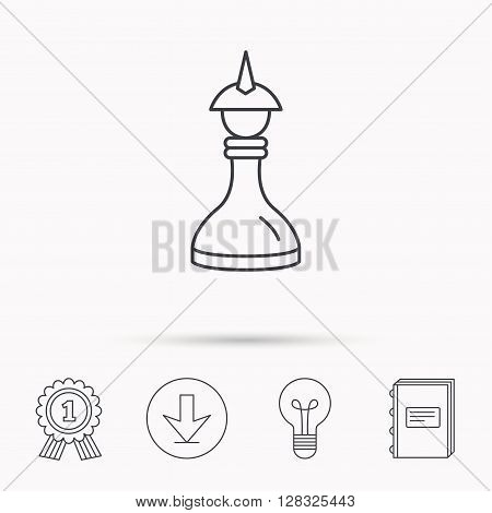 Strategy icon. Chess queen or king sign. Mind game symbol. Download arrow, lamp, learn book and award medal icons.