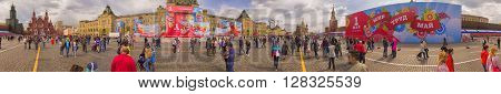 MOSCOW, RUSSIA - 1 May , 2016: Panorama People walk families through Red Square in Moscow, Russia in May