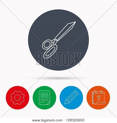 Tailor scissors icon. Hairdressing sign. Grooming symbol. Calendar, cogwheel, document file and pencil icons.