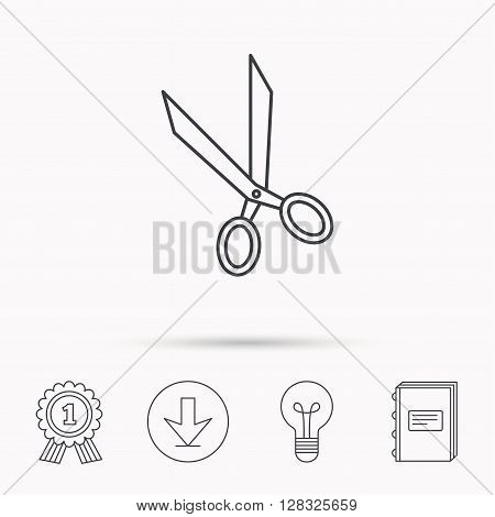 Tailor scissors icon. Hairdressing sign. Grooming symbol. Download arrow, lamp, learn book and award medal icons.