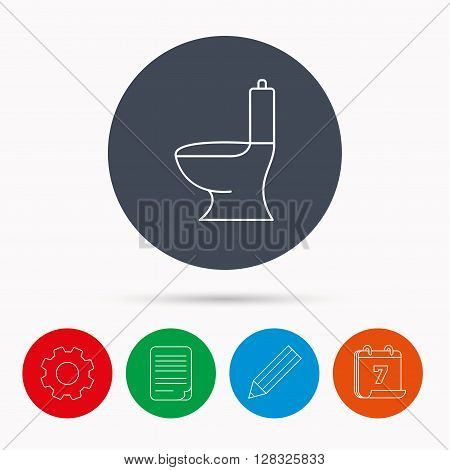 Toilet icon. Public WC sign. Calendar, cogwheel, document file and pencil icons.