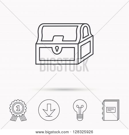 Treasure chest icon. Piratic treasury sign. Wealth symbol. Download arrow, lamp, learn book and award medal icons.