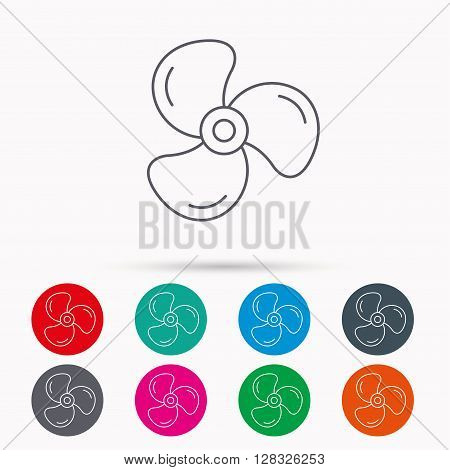 Ventilation icon. Fan or propeller sign. Linear icons in circles on white background.