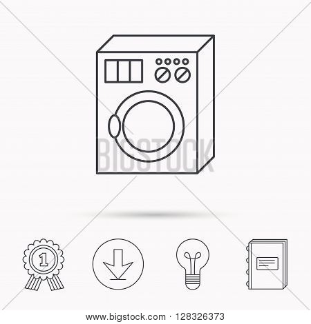Washing machine icon. Washer sign. Download arrow, lamp, learn book and award medal icons.