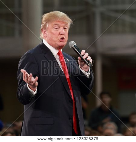 Des Moines, Iowa-December 2015;  Donald Trump speaks at a political rally leading up to the 2015 presidential election