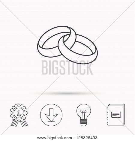 Wedding rings icon. Bride and groom jewelery sign. Download arrow, lamp, learn book and award medal icons.