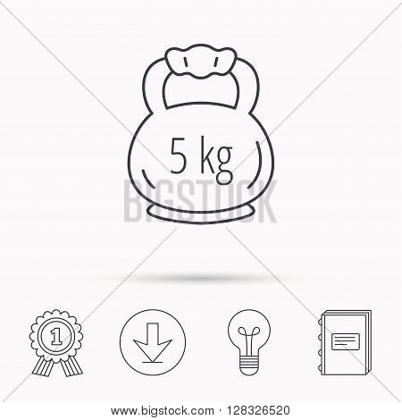 Weight icon. Weightlifting barbell sign. Power fitness symbol. Download arrow, lamp, learn book and award medal icons.