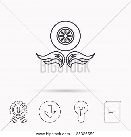 Car wheel icon. Fire flame symbol. Download arrow, lamp, learn book and award medal icons.