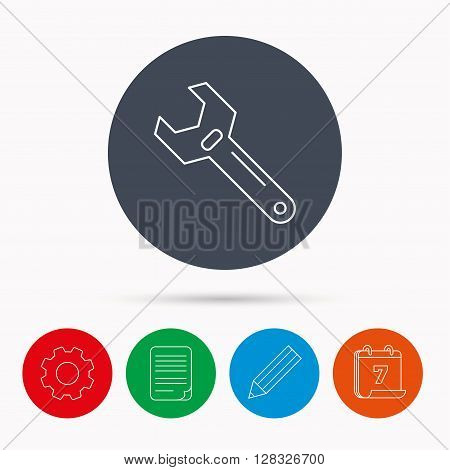 Wrench key icon. Adjustable repair tool sign. Calendar, cogwheel, document file and pencil icons.