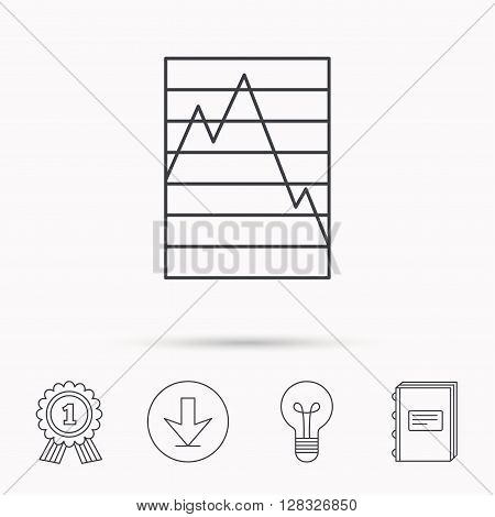 Chart curve icon. Graph diagram sign. Demand reduction symbol. Download arrow, lamp, learn book and award medal icons.