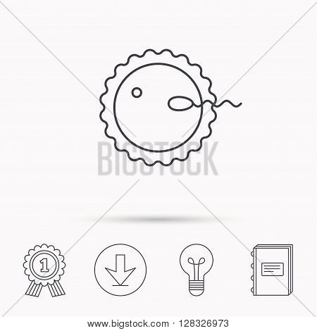 Fertilization icon. Pregnancy sign. Spermatozoid and egg symbol. Download arrow, lamp, learn book and award medal icons.
