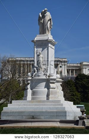 WASHINGTON, DC - APR 16: Peace Monument, on the grounds of the US Capitol, in Washington, DC, as seen on April 16, 2016. It was erected to commemorate the naval deaths during the American Civil War.