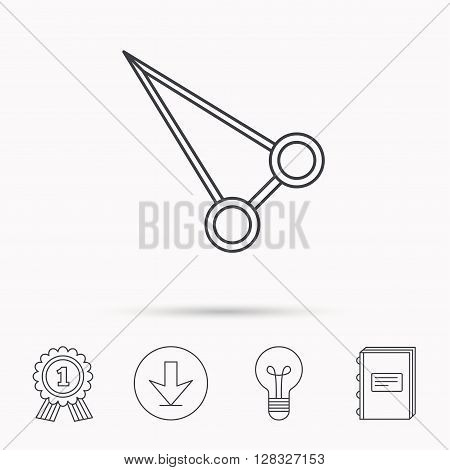Pean forceps icon. Medical surgery tool sign. Download arrow, lamp, learn book and award medal icons.