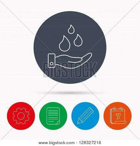 Save water icon. Hand with water drops sign. Ecology environment symbol. Calendar, cogwheel, document file and pencil icons.