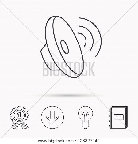 Sound waves icon. Audio speaker sign. Music symbol. Download arrow, lamp, learn book and award medal icons.