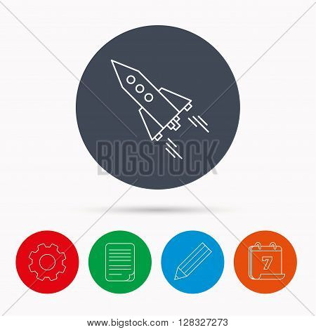 Startup business icon. Rocket sign. Spaceship shuttle symbol. Calendar, cogwheel, document file and pencil icons.
