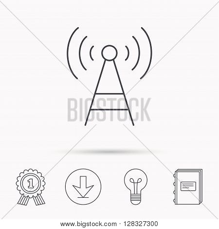 Telecommunication tower icon. Signal sign. Wireless wifi network symbol. Download arrow, lamp, learn book and award medal icons.