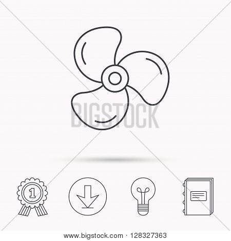Ventilation icon. Fan or propeller sign. Download arrow, lamp, learn book and award medal icons.