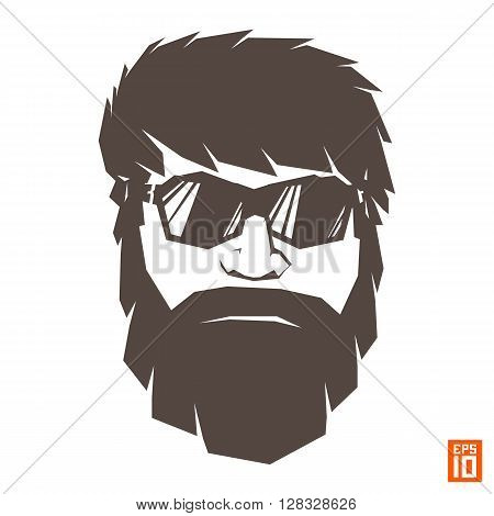 Vector monochrome hipster face character with beard hair and sunglasses. Isolated illustration for graphic design and t-shirt printing.