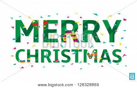 Vector happy Merry Christmas stock lettering illustration.
