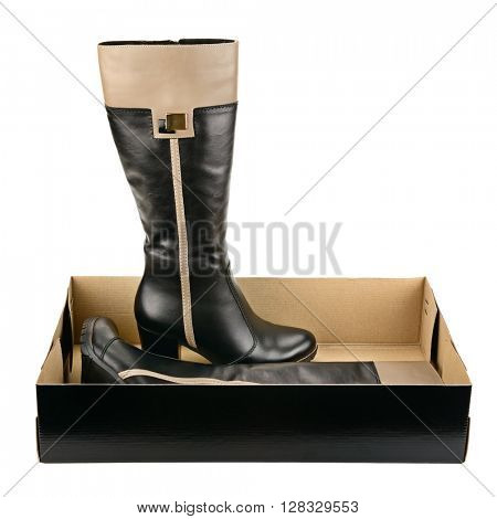 Black shoes in box isolated on white