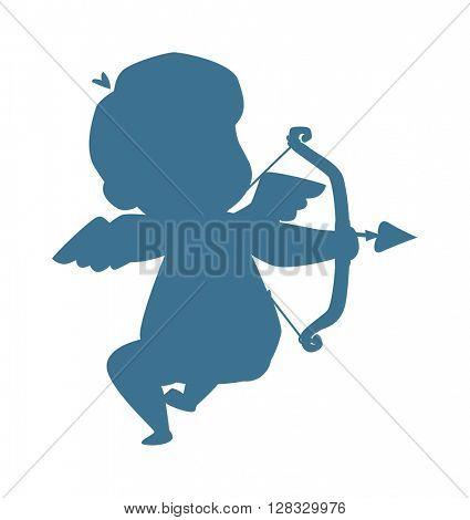 Silhouette of cupid valentine angel vector illustration.