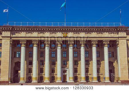 ALMATY KAZAKHSTAN - april 16 2016: Old Government House in Almaty Kazakhstan